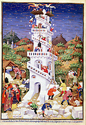 Building Tower of Babel: 'Bible' Genesis 11. God coming down to see tower (v5) and deciding to confound universal language (v6) and scatter people over the earth (v7). Stonemasons at work foreground; mixing lime mortar (v3) centre left; raising stone by windlass and block-and-tackle. Right; angels dislodging workers from scaffolding platform at top of tower. French miniature