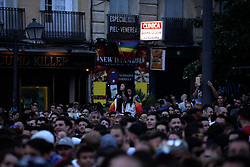 "June 28, 2017 - Madrid, Spain - People attend the launch of the Gay Pride in Madrid on 28th, 2017. From the ""Plaza de Pedro Zerolo"" is the kick-off party to the Pride parties called ""Pregón"", starts the programm of the different stages for 5 days filled Madrid of music, party and claim. The Pride Proclamation is presented by The Plexy, Cayeta Guillén Cuervo, Boris Izaguirre, Topacio, Dulceida, Alejandro Amenábar, Javier Calvo and Javier Ambrossi (The Javis) and Pepón Nieto between great others in Madrid on 28th, 2017. (Credit Image: © Juan Carlos Lucas/NurPhoto via ZUMA Press)"