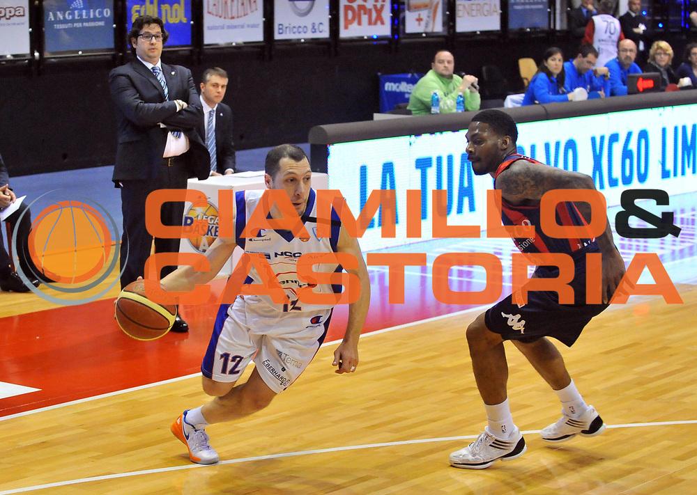 DESCRIZIONE : Biella Lega A 2011-12 Angelico Biella Bennet Cantu<br /> GIOCATORE : Nicolas Mazzarino<br /> SQUADRA :  Bennet Cantu<br /> EVENTO : Campionato Lega A 2011-2012 <br /> GARA : Angelico Biella Bennet Cantu <br /> DATA : 29/04/2012<br /> CATEGORIA : Penetrazione Palleggio<br /> SPORT : Pallacanestro <br /> AUTORE : Agenzia Ciamillo-Castoria/ L.Goria<br /> Galleria : Lega Basket A 2011-2012 <br /> Fotonotizia : Biella Lega A 2011-12  Angelico Biella Bennet Cantu <br /> Predefinita