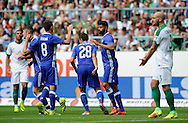 Chelsea celebrate a goal during the pre season friendly match at Weserstadion, Bremen, Germany.<br /> Picture by EXPA Pictures/Focus Images Ltd 07814482222<br /> 07/08/2016<br /> *** UK & IRELAND ONLY ***<br /> EXPA-EIB-160807-0222.jpg