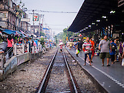 24 MARCH 2015 - BANGKOK, THAILAND:    The Wong Wian Yai train station in the Thonburi section of Bangkok. The train goes from here to Samut Sakhon Station, also known as Mahachai. PHOTO BY JACK KURTZ