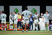 Samuel Ezeala (ASM Clermont) left the game with care after been hurted by Virimi Vakatawa (Racing Metro 92) during the French Championship Top 14 Rugby Union match between Racing 92 and ASM Clermont Auvergne on January 7, 2018 at U Arena in Nanterre, France - Photo Stephane Allaman / ProSportsImages / DPPI