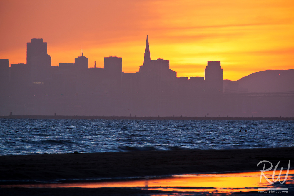 Downtown San Francisco Skyline at Sunset from Crown Memorial Beach, Alameda, California