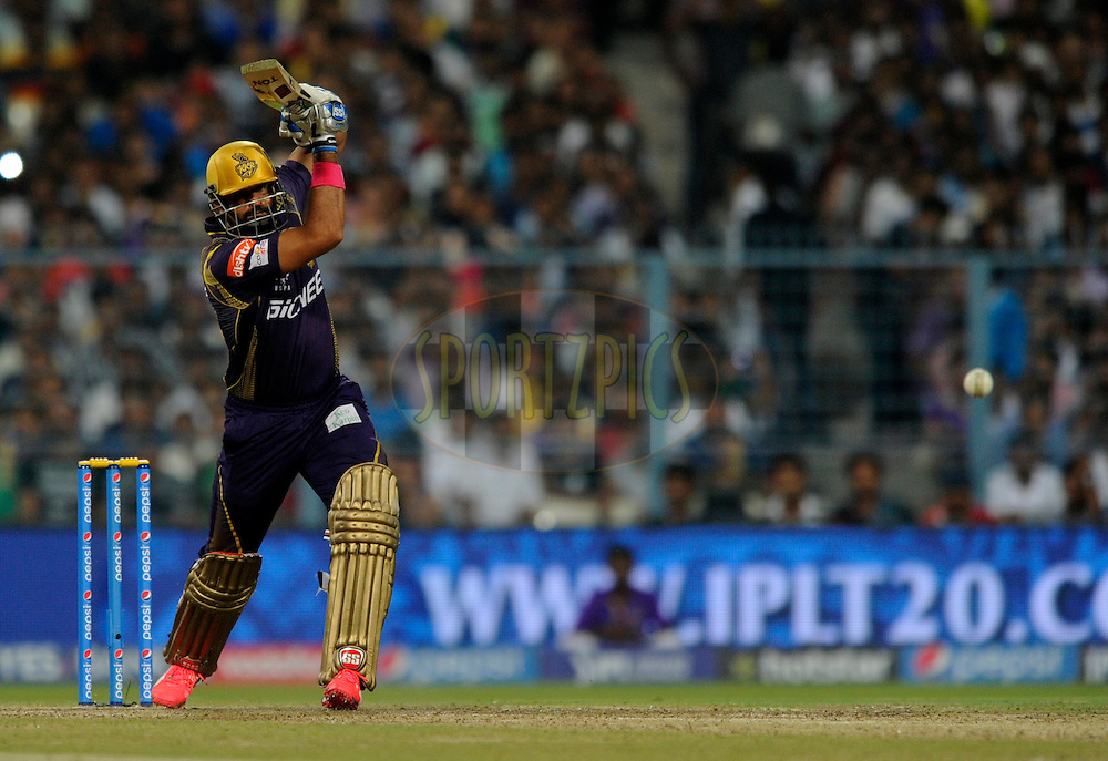 during match 38 of the Pepsi IPL 2015 (Indian Premier League) between The Kolkata Knight Riders and The Sunrisers Hyderabad held at Eden Gardens Stadium in Kolkata, India on the 4th May 2015.<br /> <br /> Photo by:  Pal Pillai / SPORTZPICS / IPL