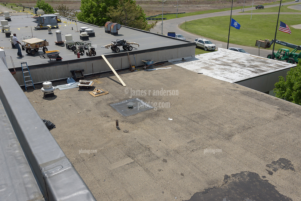 Roof Replacement and Mechanical Upgrades Stratford School For Aviation Maintenance Technicians.  Project No: BI-RT-860<br /> Contractor: Silktown Roofing, Manchester CT.<br /> James R Anderson Photography   New Haven CT   photog.com<br /> Date of Photograph: 15 May 2014<br /> Camera View: Northwest, Roof A  Image No. 35