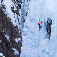 Noelle Synder Climbs Pick o' Vic which is rated WI4 in Ouray Colorado