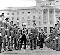 State Opening of the N Ireland Parliament, Stormont, Belfast, 22nd June 1971.  The Governor of N Ireland, Lord Grey of Naunton, reprenting the Queen at the ceremony inspects a Royal Airforce Regiment guard of honour. This was the last State Opening of the N Ireland Parliament as it was suspended with the introduction of Direct Rule. It was subsequently abolished under the Northern Ireland Constitution Act 1973. 197106220270b<br /> <br /> Copyright Image from Victor Patterson, 54 Dorchester Park, Belfast, UK, BT9 6RJ<br /> <br /> Tel: +44 28 9066 1296<br /> Mob: +44 7802 353836<br /> Voicemail +44 20 8816 7153<br /> Email: victorpatterson@me.com<br /> <br /> IMPORTANT: If you wish to use this image or any other of my images please go to www.victorpatterson.com and click on the Terms & Conditions. Then contact me by email or phone with the reference number(s) of the image(s) concerned.