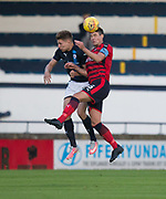 Dundee&rsquo;s Darren O&rsquo;Dea heads clear from Raith&rsquo;s Jonny Court - Raith Rovers v Dundee, Betfred Cup at Starks Park, Kirkcaldy, Photo: David Young<br /> <br />  - &copy; David Young - www.davidyoungphoto.co.uk - email: davidyoungphoto@gmail.com