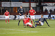 Dundee's Luka Tankulic fires in a shot which hit the post - Dundee v Ross County, SPFL Premiership at Dens Park<br /> <br />  - &copy; David Young - www.davidyoungphoto.co.uk - email: davidyoungphoto@gmail.com