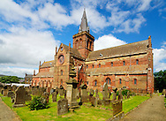 St. Magnus Cathedral, in Kirkwall, the main town of Orkney, a group of islands off the north coast of mainland Scotland. Its construction began in 1137.