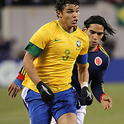 Thiago Silva, Brazil, in action during the Brazil V Colombia International friendly football match at MetLife Stadium, New Jersey. USA. 14th November 2012. Photo Tim Clayton