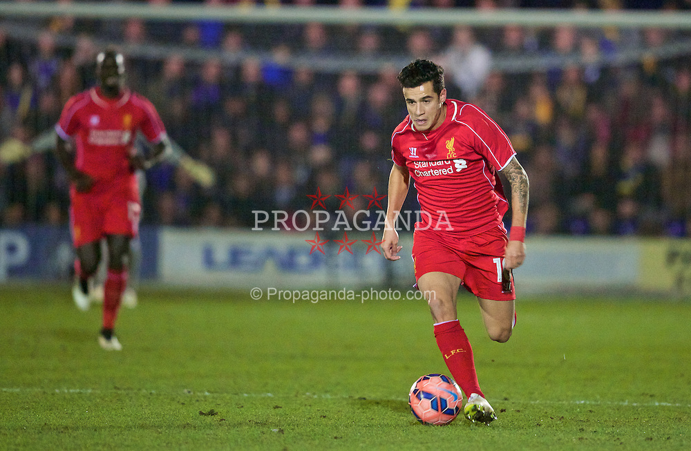 KINGSTON-UPON-THAMES, ENGLAND - Monday, January 5, 2015: Liverpool's Philippe Coutinho Correia in action against AFC Wimbledon during the FA Cup 3rd Round match at the Kingsmeadow Stadium. (Pic by David Rawcliffe/Propaganda)
