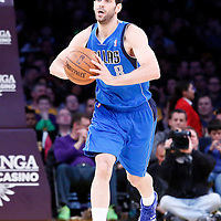 04 April 2014: Dallas Mavericks guard Jose Calderon (8) passes the ball during the Dallas Mavericks 107-95 victory over the Los Angeles Lakers at the Staples Center, Los Angeles, California, USA.
