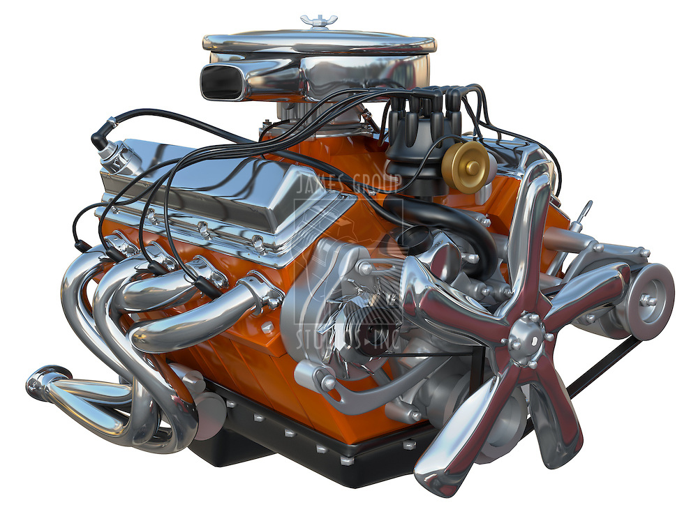 A high performance v8 engine on a white background no clipping path included.