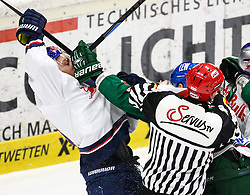 20.02.2015, Curt-Fenzel-Stadion, Augsburg, GER, DEL, Augsburger Panther vs EHC Red Bull München, 49. Runde, im Bild Boxeinlage zwischen Steffen Tölzer, Toelzer (Augsburger Panther #13, re, verdeckt vom SR) und David Meckler (EHC Muenchen), // during Germans DEL Icehockey League 49th round match between Augsburger Panther and  EHC Red Bull München at the Curt-Fenzel-Stadion in Augsburg, Germany on 2015/02/20. EXPA Pictures © 2015, PhotoCredit: EXPA/ Eibner-Pressefoto/ Krieger<br /> <br /> *****ATTENTION - OUT of GER*****