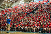 David Lindsay speaks at the welcome night assembly at orientation 2013<br /> <br /> Photo by Austin Ilg