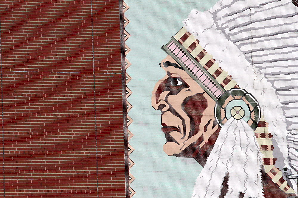 An Indian tile mural on the side of the Wigwam in Anderson, Ind. made from thousands of pieces of tile. The Wigwam was once the second largest high school basketball arena in Indiana but has since been closed in favor of a modern high school gym...Photo by Chris Bergin..
