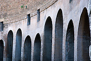 Rome, Italy, November 16, 2006-View of graceful arches in the Roman Colosseum.