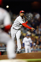 May 12, 2007: Pitcher #28  Kyle Lohse throws the ball to first base to keep a runner from stealing second  as the Los Angeles Dodgers defeated the Cincinnati Reds 7-3 at Dodger Stadium in Los Angeles, CA.