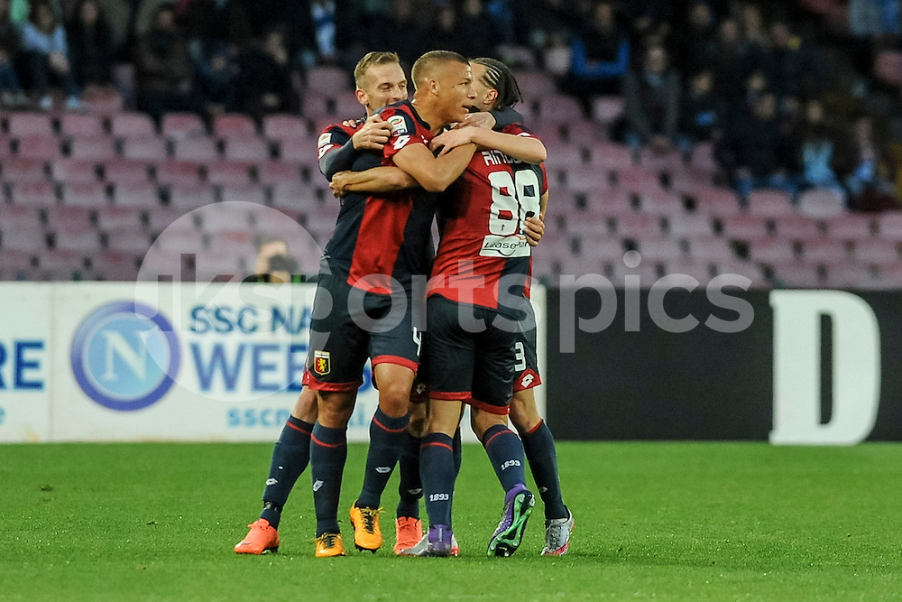 Celebration following the opening goal of Tomás Rincón of Genoa during the Serie A TIM match between Napoli and Genoa at Stadio San Paolo, Naples, Italy on 20 March 2016. Photo by Franco Romano.