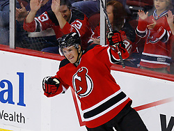 Nov 1, 2008; Newark, NJ, USA; New Jersey Devils left wing Zach Parise (9) celebrates his goal during the second period at the Prudential Center.
