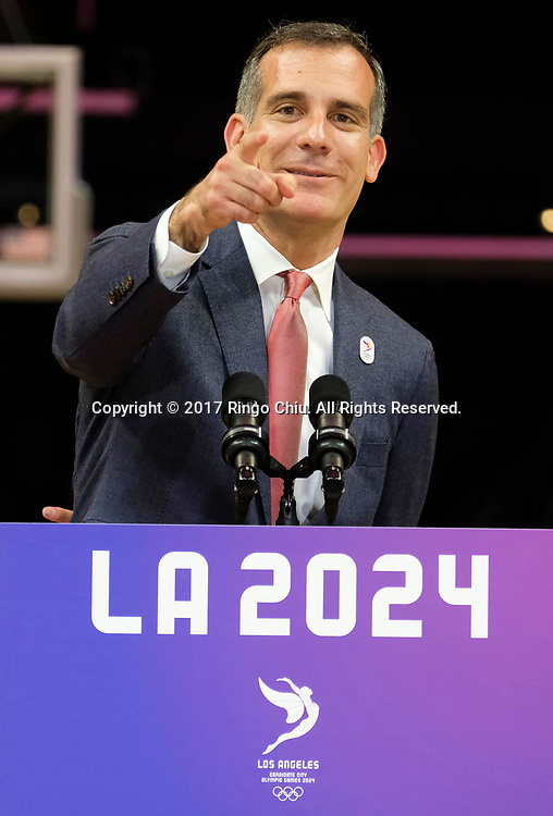 Los Angeles Mayor Eric Garcetti speaks during a news conference at Staples Center, Friday, May 12, 2017, in Los Angeles. A team of International Olympic Committee delegates wrap up four days of evaluating Los Angeles' bid for the 2024 Games before heading to Paris to check the only other candidate.(Photo by Ringo Chiu/PHOTOFORMULA.com)<br /> <br /> Usage Notes: This content is intended for editorial use only. For other uses, additional clearances may be required.