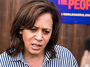 "04 JULY 2019 - INDIANOLA, IOWA: US Senator KAMALA HARRIS (D-CA) talks to reporters during a press gaggle at a campaign event in Indianola Thursday afternoon. Sen. Harris attended a ""house party"" in Indianola as a part of her campaign to be the Democratic nominee for the US presidency in 2020. Iowa traditionally holds the first selection of the presidential election cycle. The Iowa caucuses are Feb. 3, 2020.       PHOTO BY JACK KURTZ"