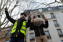 Jerome Rodrigues during the act 12 of yellow vests protest at the place Feix Eboue in Paris, France, on February 02, 2019. Photo by Serge Tenani/Avenir Pictures/ABACAPRESS.COM