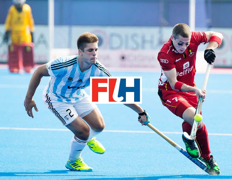 BHUBANESWAR - The Odisha Men's Hockey World League Final . Match ID 03. Argentina v Belgium. Gonzalo Peillat (Arg) with John-John Dohmen (Bel)  . WORLDSPORTPICS COPYRIGHT  KOEN SUYK