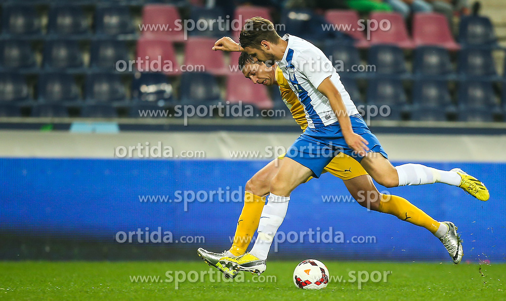 31.07.2014, Red Bull Arena, Salzburg AUT, UEFA EL Qualifikation, FC Groedig vs FC Zimbru Chisinau, dritte Runde, Hinspiel, im Bild Serghei Alexeev, (FC Zimbru Chisinau, #55) und Maximilian Karner, (SV Scholz Groedig, #3) // during UEFA Europe League Qualifier first leg 3rd round between FC Groedig and FC Zimbru Chisinau at the Red Bull Arena in Salzburg, Austria on 2014/07/31. EXPA Pictures © 2014, PhotoCredit: EXPA/ Roland Hackl