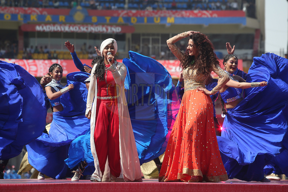 Harshdeep Kaur &amp; Disha Patani perform during the opening ceremony before match 4 of the Vivo 2017 Indian Premier League between the Kings XI Punjab and the Rising Pune Supergiant held at the Holkar Cricket Stadium in Indore, India on the 8th April 2017<br /> <br /> Photo by Shaun Roy - IPL - Sportzpics