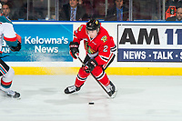 KELOWNA, BC - MARCH 02:  Kade Nolan #2 of the Portland Winterhawks stops on the ice and passes the puck against the Kelowna Rockets at Prospera Place on March 2, 2019 in Kelowna, Canada. (Photo by Marissa Baecker/Getty Images)