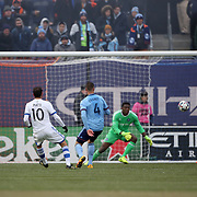 NEW YORK, NEW YORK - March 18:  Ignacio Piatti #10 of Montreal Impact hits the post with a shot during the New York City FC Vs Montreal Impact regular season MLS game at Yankee Stadium on March 18, 2017 in New York City. (Photo by Tim Clayton/Corbis via Getty Images)