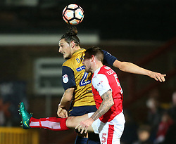Milan Djuric of Bristol City wins a header against Ashley Eastham of Fleetwood Town - Mandatory by-line: Matt McNulty/JMP - 17/01/2017 - FOOTBALL - Highbury Stadium - Fleetwood,  - Fleetwood Town v Bristol City - Emirates FA Cup Third Round Replay