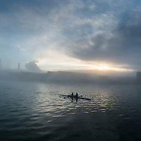 Rowers in Cork City on a foggy morning training session.<br /> Picture: Emma Jervis Photography