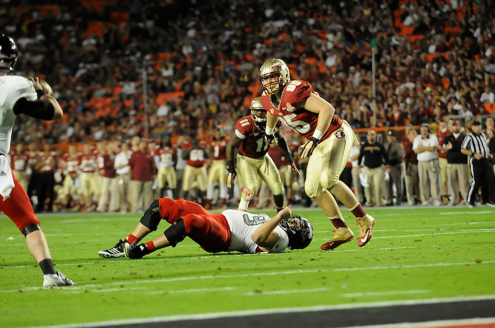 January 1, 2013: Bjoern Werner #95 of Florida State in action during the NCAA football game between the Northern Illinois Huskies and the Florida State Seminoles at the 2013 Orange Bowl in Miami Gardens, Florida. The Seminoles defeated the Huskies 31-10.