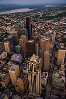 Flying above Seattle City Centre