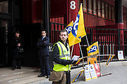 British Library picket line. PCS Budget Day Strikes were held all over London, followed by a rally outside the House of Commons. 20th March 2013.