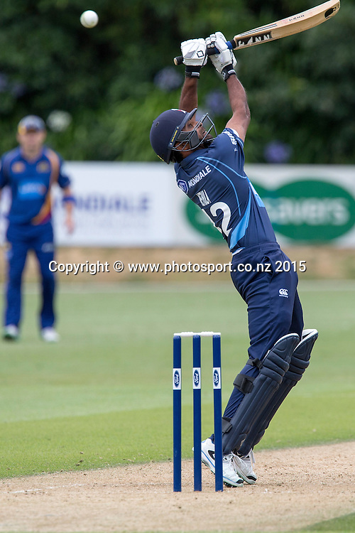 Aces` Tarun Nethula bats in the Auckland Aces v Otago Volts, One Day Ford Trophy Cricket Match, Eden Park, Auckland, New Zealand, Friday, January 02, 2015. Photo: David Rowland/Photosport