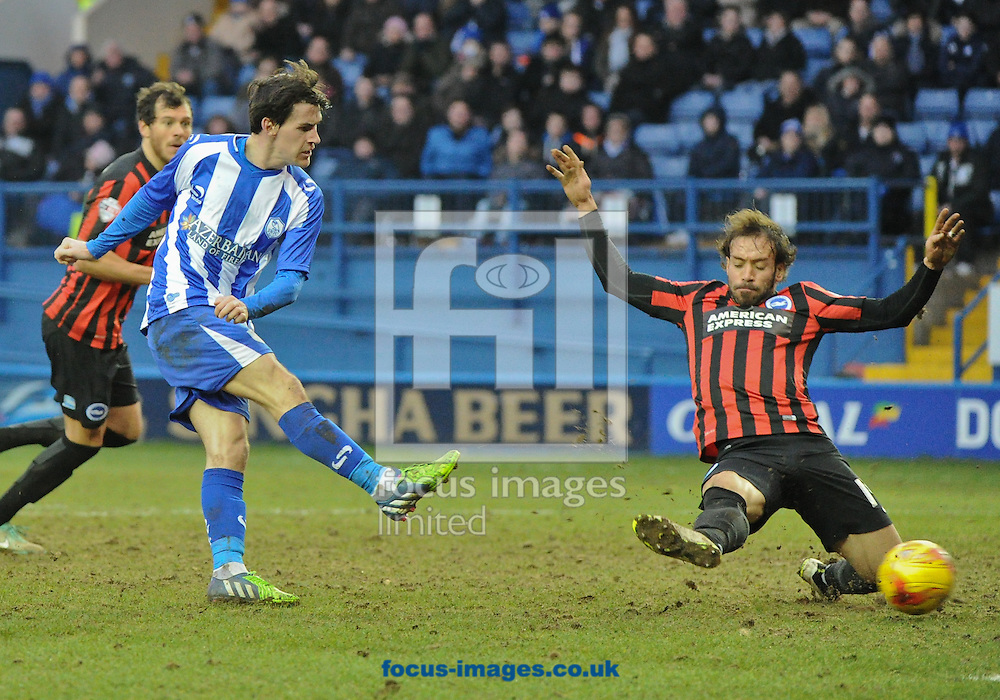 Kieran Lee of Sheffield Wednesday shot is blocked during the Sky Bet Championship match at Hillsborough, Sheffield<br /> Picture by Richard Land/Focus Images Ltd +44 7713 507003<br /> 14/02/2015