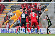 Leyton Orient defender Mathieu Baudry  scores during the Sky Bet League 2 match between Leyton Orient and York City at the Matchroom Stadium, London, England on 21 November 2015. Photo by Simon Davies.