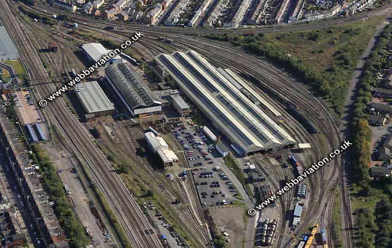 aerial photograph of  Cardiff Canton TMD Traction Maintenance Depot  Wales UK