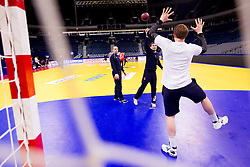 Gorazd Skof of Slovenia, Marko Bezjak of Slovenia and Matej Gaber of Slovenia  during practice session of Slovenia national team 1 day before handball match against Macedonia for 5th place at 10th EHF European Handball Championship Serbia 2012, on January 26, 2012 in Beogradska Arena, Belgrade, Serbia.  (Photo By Vid Ponikvar / Sportida.com)