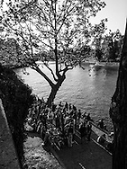 France. paris. 4th district. .  people gathering on Saint louis island  quai de Bourbon. along the Seine river