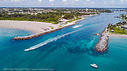 Jupiter Inlet in northern Palm Beach County, Florida, United States Image available as a premium quality aluminum print ready to hang.