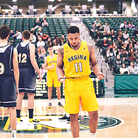 4th year guard, Myles Hamilton (11) of the Regina Cougars during the Men's Basketball Home Game on Fri Nov 02 at Centre for Kinesiology,Health and Sport. Credit: Arthur Ward/Arthur Images