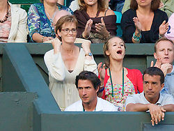 LONDON, ENGLAND - Monday, June 30, 2008: Andy Murray's mother Judith celebrates her son's marathon men's singles fourth round victory on day seven of the Wimbledon Lawn Tennis Championships at the All England Lawn Tennis and Croquet Club. (Photo by David Rawcliffe/Propaganda)