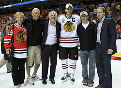 June 9, 2010; Philiadelphia, PA; USA;  Chicago Blackhawks center Jonathan Toews (19) celebrates with family members after the Blackhawks defeated the Flyers 4-3 in Game 6 of the Stanley Cup Finals at the Wachovia Center.