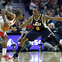 10 March 2012: Utah Jazz small forward Josh Howard (8) defends on Chicago Bulls shooting guard Ronnie Brewer (11) during the Chicago Bulls 111-97 victory over the Utah Jazz at the United Center, Chicago, Illinois, USA.