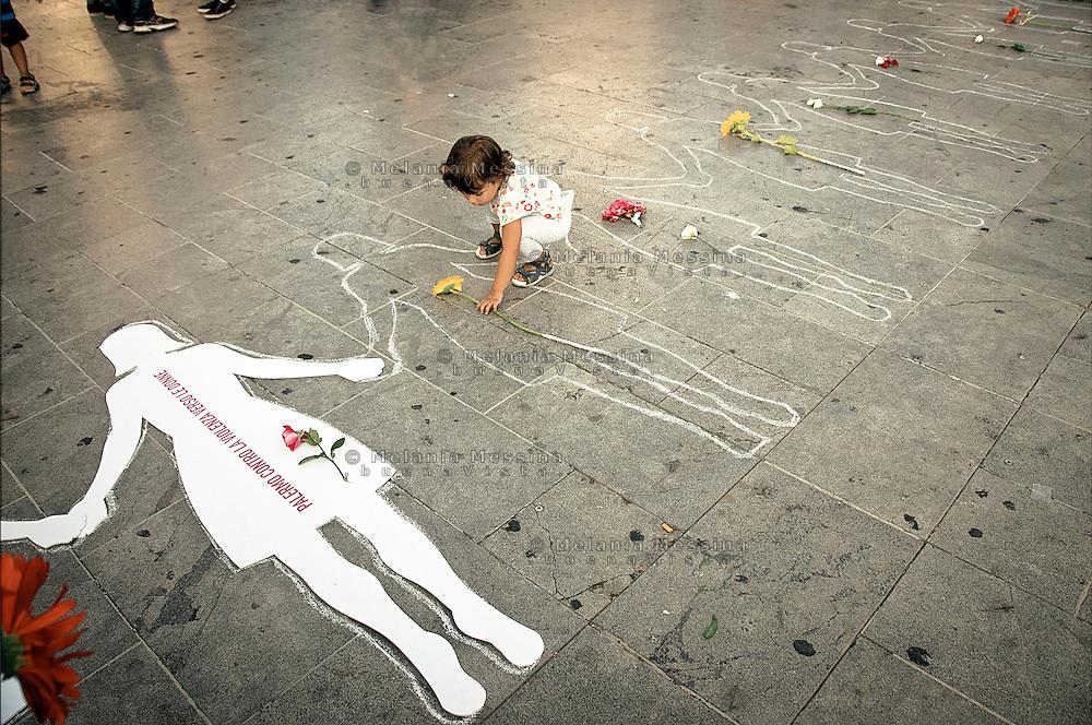 Palermo: Homage to the women who died because of domestic violence.<br /> Palermo: omaggio alle vittime di femminicidio